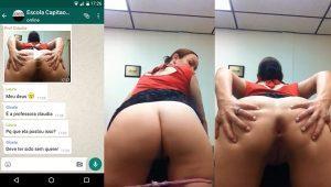 Professora gostosa caiu na net enviando vídeo intimo pro aluno punheteiro